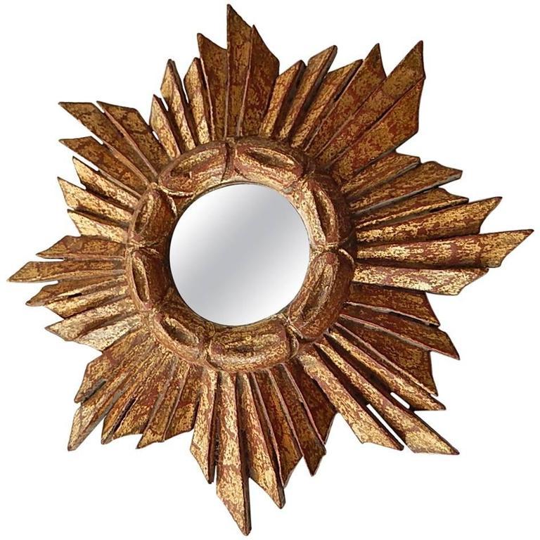Petit French Gold Gilt Sunburst Starburst Mirror
