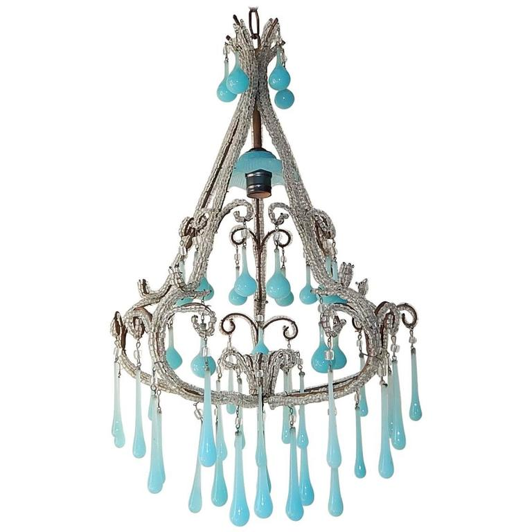 French beaded blue opaline drops and bobeche chandelier at 1stdibs french beaded blue opaline drops bobeche chandelier for sale aloadofball Choice Image