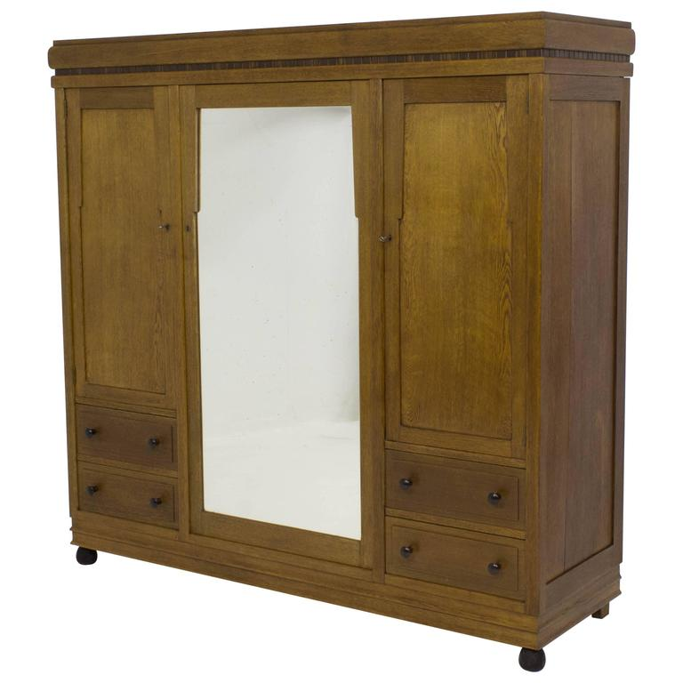 stunning art deco amsterdam school wardrobe or armoire 1920s for sale at 1stdibs. Black Bedroom Furniture Sets. Home Design Ideas