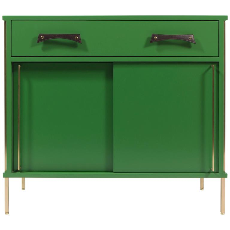 Grass Green Sliding Door Cabinet with Brass Legs and Leather Handles