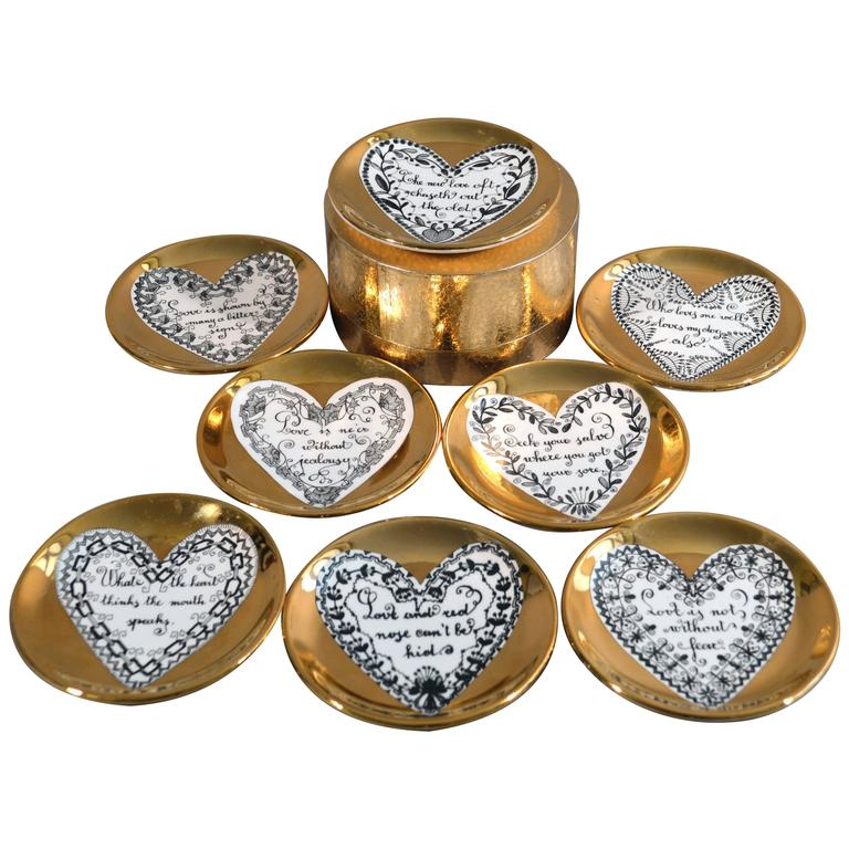 Piero Fornasetti Set of Eight Porcelain Love Coasters, 1960s For Sale