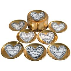Piero Fornasetti Set of Eight Porcelain Love Coasters, 1960s