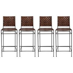 Set of Four Iron and Leather Bar Stools