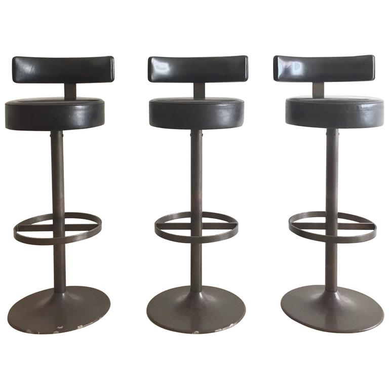 1960s Steel And Leather Modernist Bar Stools For Sale At