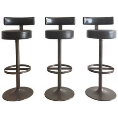 1960s Steel and Leather Modernist Bar Stools