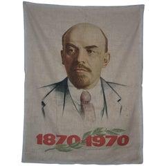Hand-Painted Bust of Lenin on Fabric, Soviet Propaganda