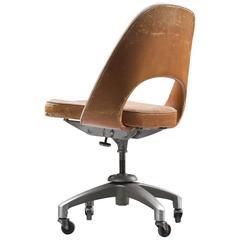 Eero Saarinen Executive Desk Chair in Original Cognac Leather