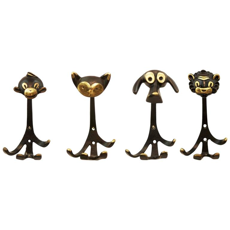 Set of Four Wall Hooks by Walter Bosse