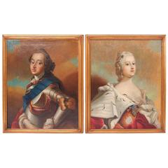 Pair of Portraits,  Denmark, Pilots Art, circa 1750