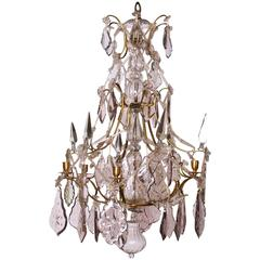 Swedish Crystal Chandelier Made For Six Candles Rococo Circa 1770