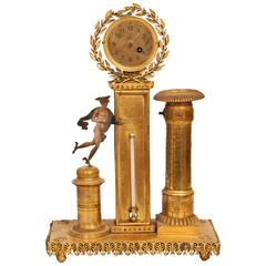 Tabewatch, Thermometer and Candlestick with Hermes Figurine, Gilded Brass