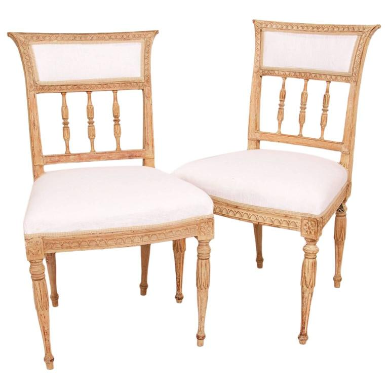 A Pair of Late Gustavian Chairs, Hallmarked circa 1810, Stockholm