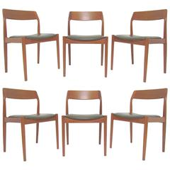 Set of Six Danish Teak Dining Chairs with Carved Backs by Scantic Mobelvaerk