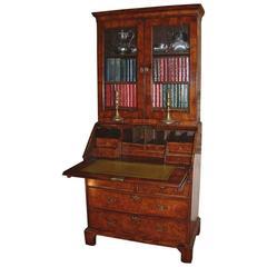 George I Period Burr Walnut Bureau Bookcase Dating from circa 1720