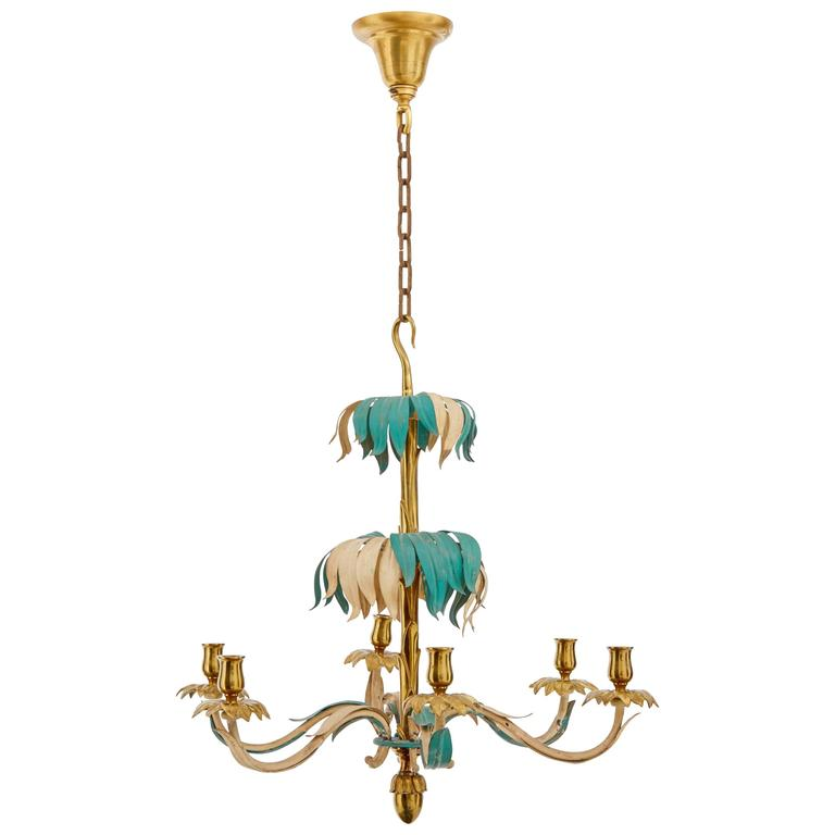 1960s French Decorated Brass Palm Chandelier by Bagues