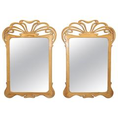 Pair of Art Nouveau Carved Mirrors