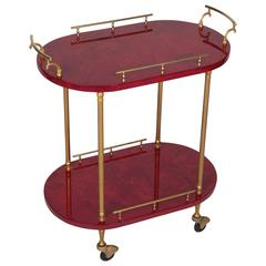 Aldo Tura Red Lacquered Serving or Bar Cart