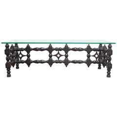 Renaissance-Style Carved Ebonized Oak Coffee Table