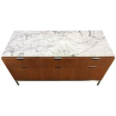 Florence Knoll Six-Drawer Teak Chest/Credenza/Commode with Carrera Marble Top