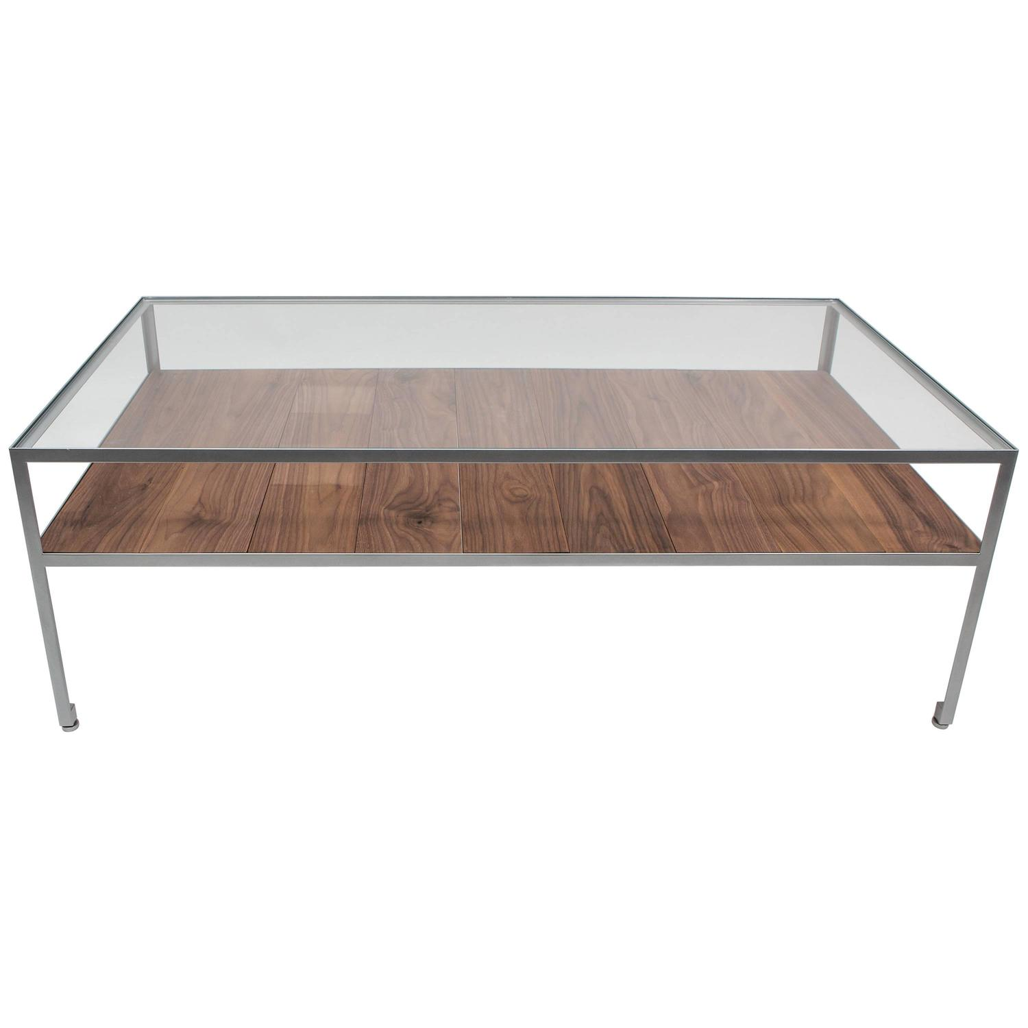 Pintor Coffee Table Walnut Frame with Stainless Steel Inlay
