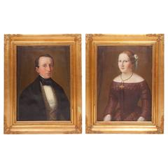 Pair of 19th Century Portrait, Depicting Helene and Otto Malmborg, Sign Lehman