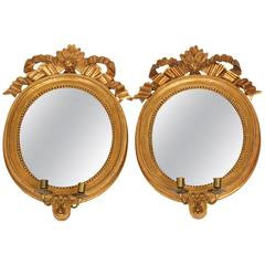 Pair of Gustavian Medallion Mirror Sconces, circa 1790, Sweden