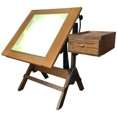 Rare Hamilton Lightbox Drafting Table and Drawer Cast Iron and Oak