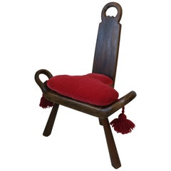 Italian Sgabello Side Chair or Stool with Red Velvet Seat Cushion