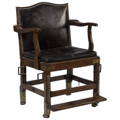 British Campaign Folding Chair Walnut Brass and Leather