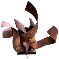 """Fire"" Steel with Rust Patina Sculpture by Irwin Labin"