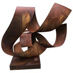 """Flow"" by Irwin Labin Steel and Rust Patina Sculpture"