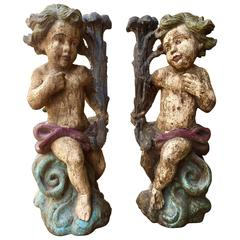 Large 18th Century French Carved Wood Polychrome Putti Angels Candlesticks