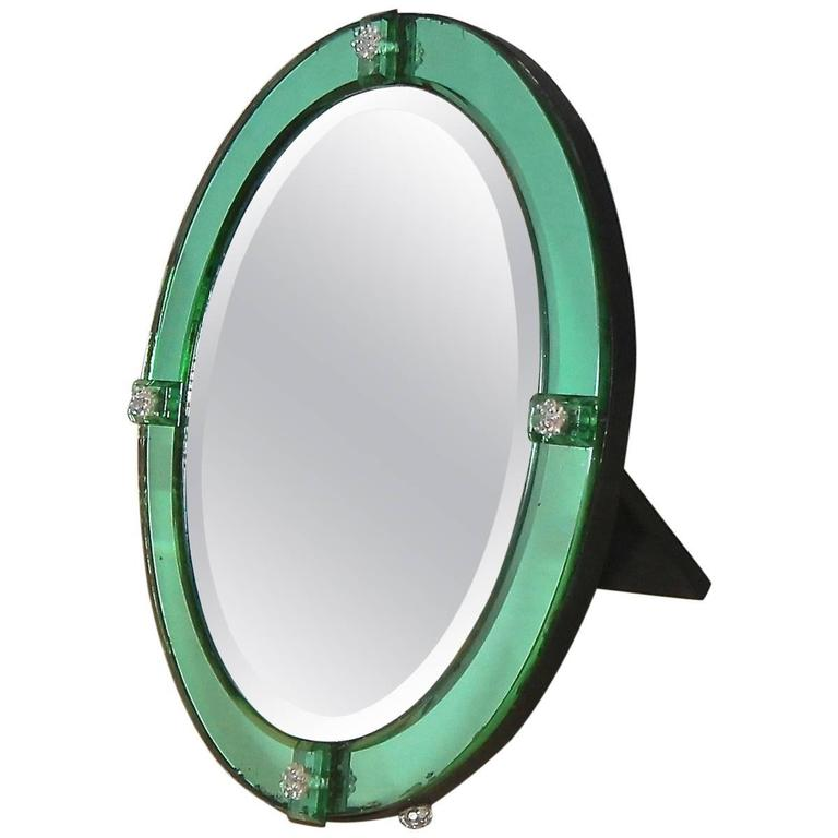 French Art Deco Emerald Green Table Mirror