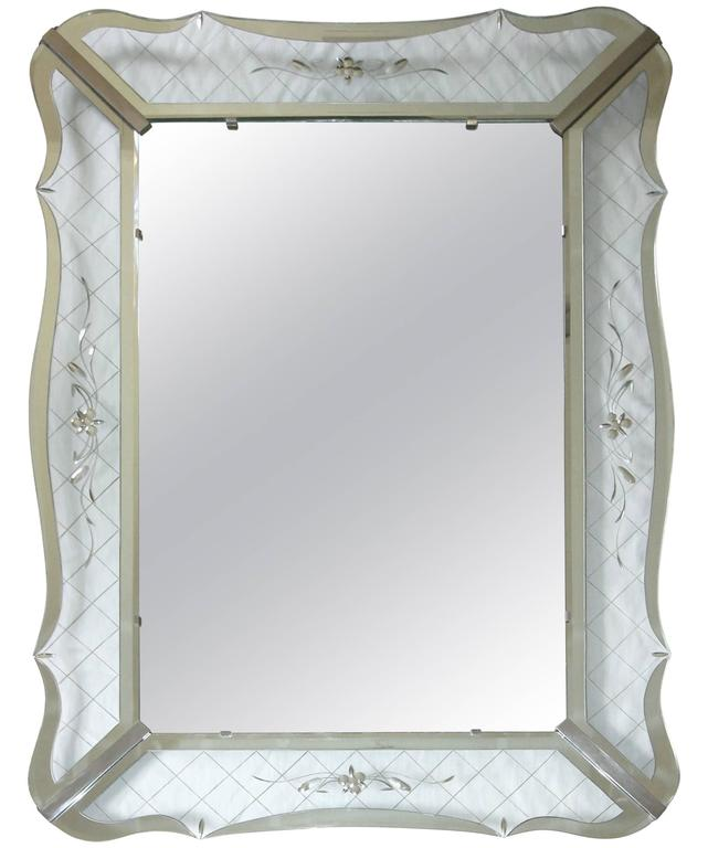 large wavy edge deco clear etched wall mirror 1