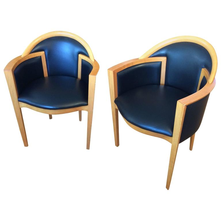 Pair Of Roche Bobois Mid Century Modern Blonde Wood U0026 Black Leather  Armchairs For Sale