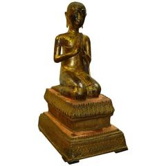 Fine and Unusual Thai Gold Gilt Bronze Kneeling Buddha