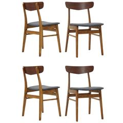 Set of Four Danish Teak Dining Chairs Made in Denmark, circa 1960