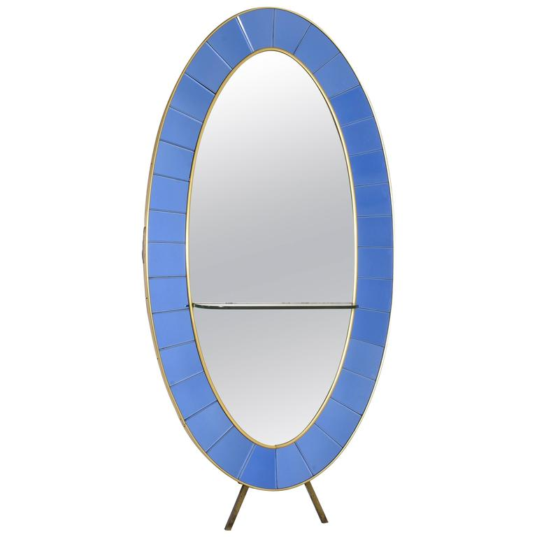Cristal Art Standing Oval Mirror Console For Sale at 1stdibs