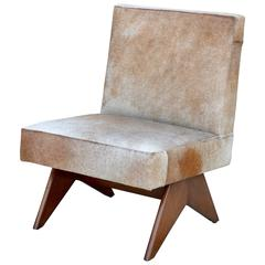 Compas Oak and Natural Hide Slipper Chair