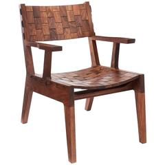 RB Lehnstuhl, Moderne Loungesessel Handarbeit aus Nussbaum