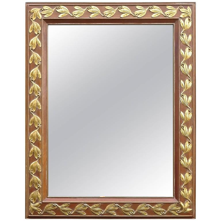 Large Chic 1940s Italian Pickled Pine and Gilt Mirror For Sale