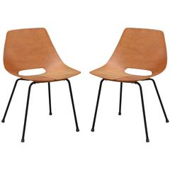 Pair of Bent Plywood Tonneau Side Chairs by Pierre Guariche