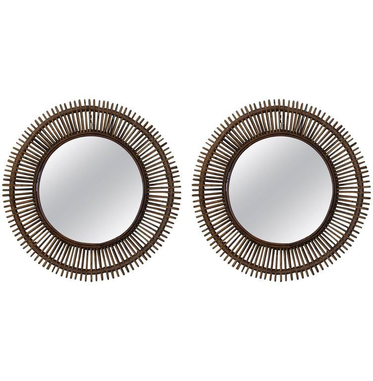 Pair of 'Oculus' Round Rattan Mirrors