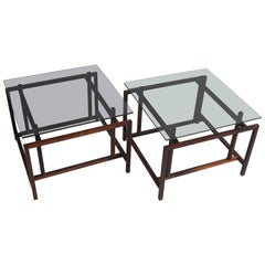 Pair of Old Stock, Solid Rosewood Norgaard Side/Coffee Tables with Smoked Glass