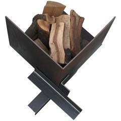 Large Patinated Steel Plate Brutalist Fire Pit or Log Holder