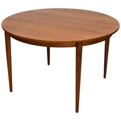 Round Danish Teak Dining Table, Two Leaves, Moreddi