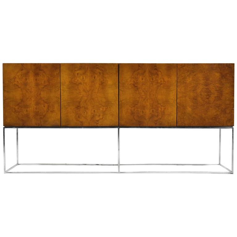 Milo Baughman Olive Ash Burl Credenza by Thayer Coggin For Sale