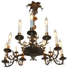1950s French Bronze Chandelier