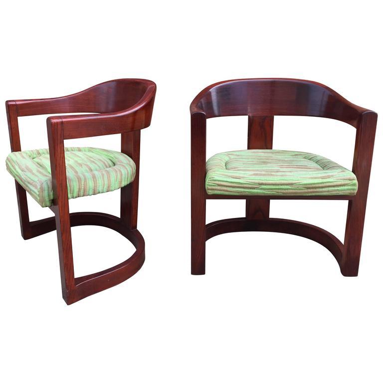 Pair of Oak Onassis Chairs by Karl Springer