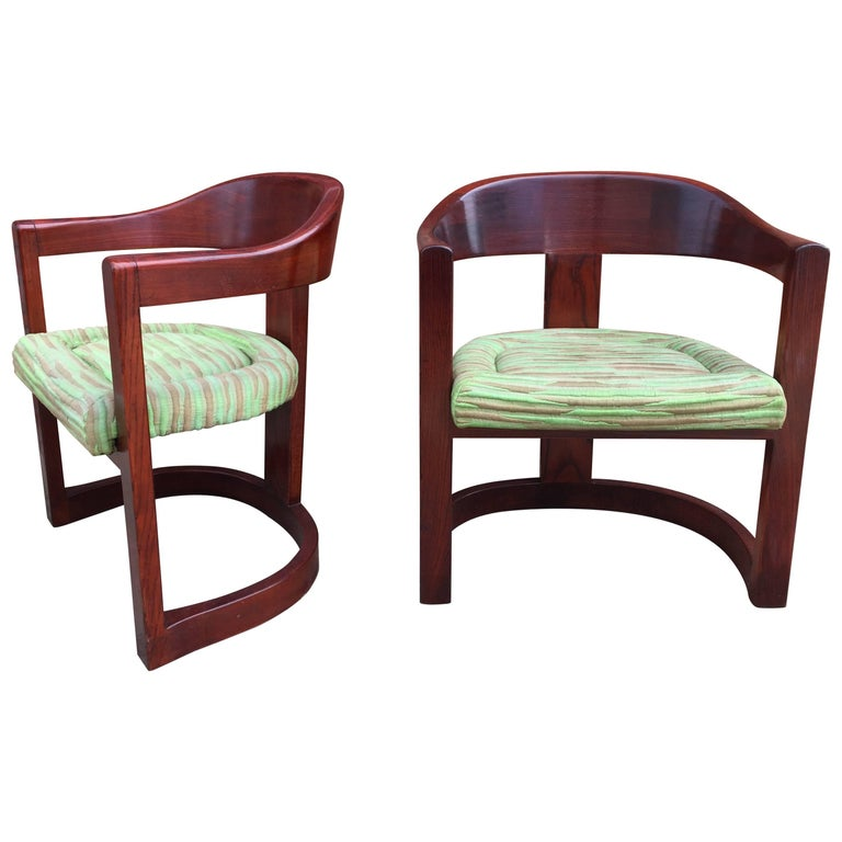 Pair of Oak Onassis Chairs by Karl Springer